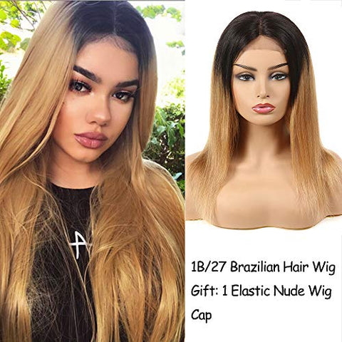 16Inch Lace Frontal Wigs Two Tone Ombre 1B/Blonde Color Brazilian Hair Weave Virgin Brazilian Straight Hair 10A Grade Black To #27 Color Shiny And Healthy Wigs