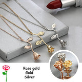 Barogirl Rose Necklace With Initial Vintage 3D Flower Pendant Necklace For Women (Silver)