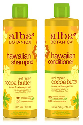 Alba Botanica Naturals Hawaiian Shampoo And Conditioner Real Repair Cocoa Butter Bundle With Cocoa, Aloe Vera, Pineapple, Calendula, Papaya, Matricaria, Quinoa Seed, Coconut And Ginger, 12 Oz. Each