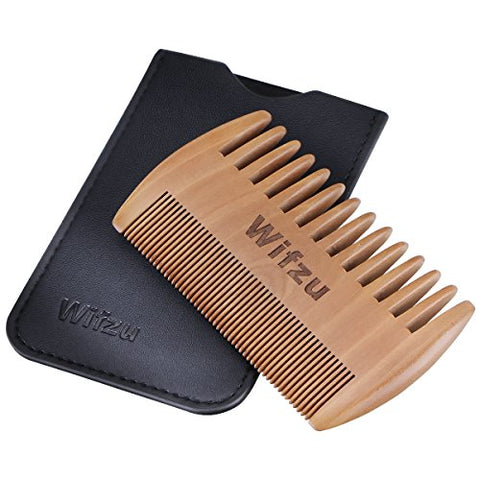 Wifzu Wooden Beard Combs, Anti-Static Pocket Combs For Mustaches, Dual Action Little Wood Combs With Fine &Amp; Coarse Teeth, Including A Black Leather Pocket, Best For Travel, Small Gifts For Men(Brown)