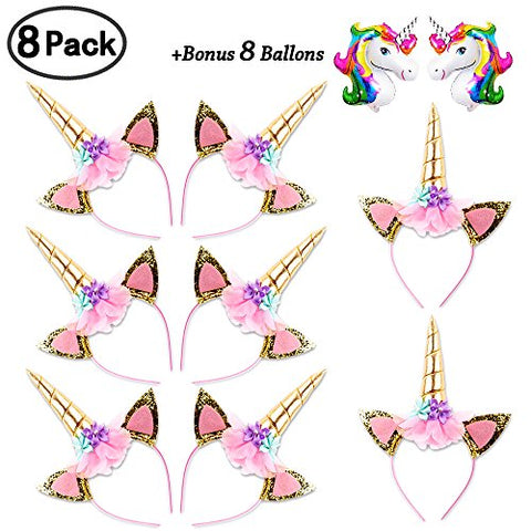 Daisyformals Unicorn Headband Set8 Packshiny Gold Glitter Flowers Ears Headbands For Girls Adults Birthday Halloween Party Costume + 8 Free Unicorn Balloons