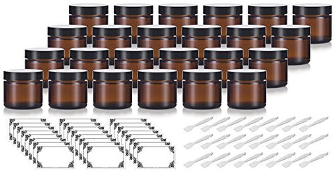 2 Oz / 60 Ml Amber Glass Straight Sided Jar With Black Foam Lined Lids  + Spatulas And Labels