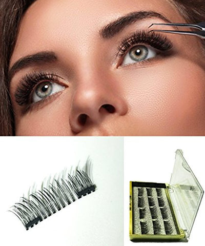Gatho Dual Magnetic Eyelashes, (12 Piece) Glue-Free 3D Reusable Full Size Premium Quality Best Natural Look False Lashes