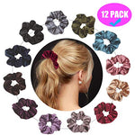 Velvet Hair Scrunchies Set, Soft Elegant Hair Bobble Elastics Hair Scrunchy Hair Bands Headbands Women Scrunchies Bobbles Hair Ties, 12 Colors