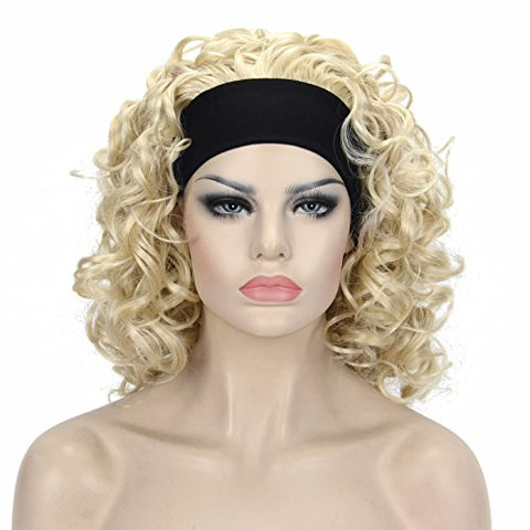 Lydell 12 Inch Medium Super Curly Wigs Pale Blonde Synthetic Headband Wigs (#613 Pale Blonde)