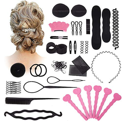 Hair Styling Set Kit, 20Pcs Hair Styling Kit For Women Topsy Tail Hair Tools Haircut Clamp Women Girls Hair Bun Clip Maker Pads Hairpins Roller Braid Twist Sponge Hair Accessories For Hair Styles