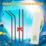 Vehhe Reusable Straws 10.5  Drinking Straws Metal Straws - Ultra Long Black- With Cleaning Brush For 20/30 Oz For Yeti Rtic Sic Ozark Trail Tumblers (Black)