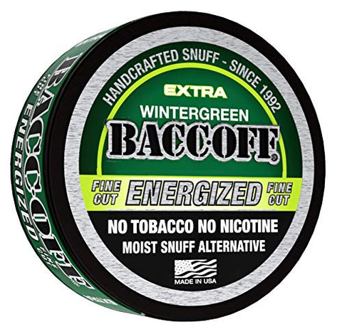 Baccoff, Wintergreen Energized Fine Cut, Premium Tobacco Free, Nicotine Free Snuff Alternative (10 Cans)