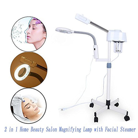 2 In 1 5X Magnifying Lamp With Facial Steamer, Cold Light/Led Light Magnifying Floor Light Skincare Tattoo Manicure Beauty Spa Makeup Light With Rolling Wheel Stand Us (Led Light)