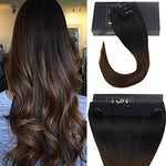 Sunny Flip On Human Extensions 20 Inches Color #1B Natural Black Fading To #4 Dark Brown Halo Remy Hair Extensions 11  Width 100G Per Set