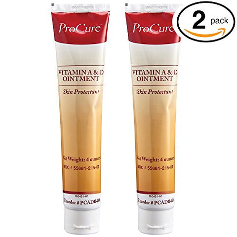 Procure Vitamin A And D Ointment 4Oz Tubes, - Treats And Prevents Diaper Rash - Lanolin And Petrolatum Skin Protectant Formula Seals In Wetness - For Cuts, Dry Or Chaffed Skin