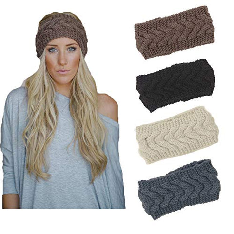 Knit Headbands Winter Braided Headband Ear Warmer Crochet Head Wraps For Women Girls H7 (4 Color Pack G)