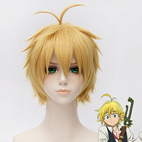 Gooaction 11.8 Short Golden Yellow Cosplay Wig Dragon'S Sin Of Wrath/Meliodas Anti-Alice Cosplay Wig Costume Wigs
