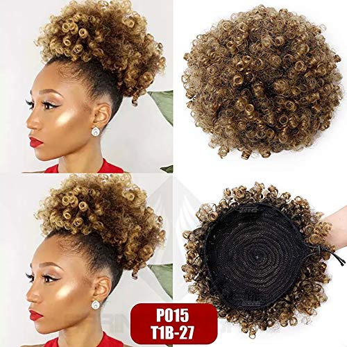 African Afro Short Kinky Curly Wrap Drawstring Puff Ponytail Bun Extension Synthetic Hair Large Round Ponytai 1b 27