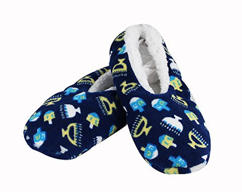 Zion Judaica Hanukkah Snuggle Slippers (Adult M Shoe 5-9)