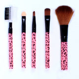 5 Pcs Cosmetic Makeup Tool Brush Kit Travel Set - Pink