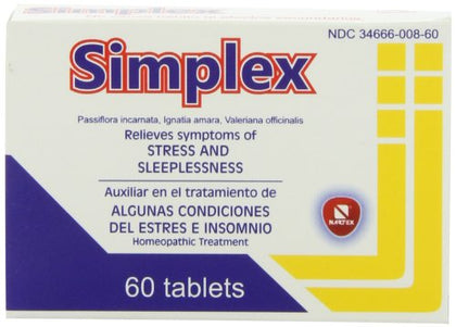 Nartex Simplex Homeopathic Sedative Tablets, 60 Count