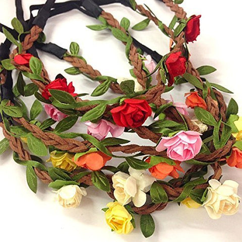 5 Pcs Women Lady Girl'S Bohemian Boho Style Rose Flower Floral Crown Headband Garland Halo Hair Band For Festival Party Wedding - Random Color