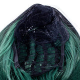 Swacc 14-Inch Short Straight Middle Part Hair Wig Medium Length Synthetic Heat Resistant Wigs For Women With Wig Cap (Green Ombre)