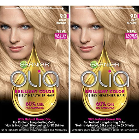 Garnier Olia Amonia-Free Brilliant Color Oil-Rich Permanent Hair Color, 9.0 Light Blonde (2 Count) Blonde Hair Dye