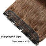 Clip In Remy Human Hair Extensions One Piece 5 Clips 100% Remy Human Hair Straight Soft Extensions 3/4Fullhead-Thicker(16 -80G, 04 Medium Brown)