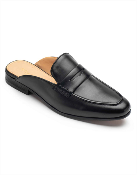 Black Leather Mules-YD363-46-K2