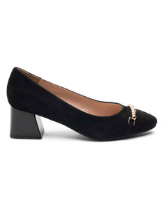 Ebony Block Heel Pump-LT8133-3