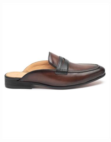 Brown Leather Mules-YD363-46-K2