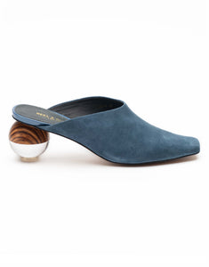 Aqua Suede mule with gobular heel-R139-3