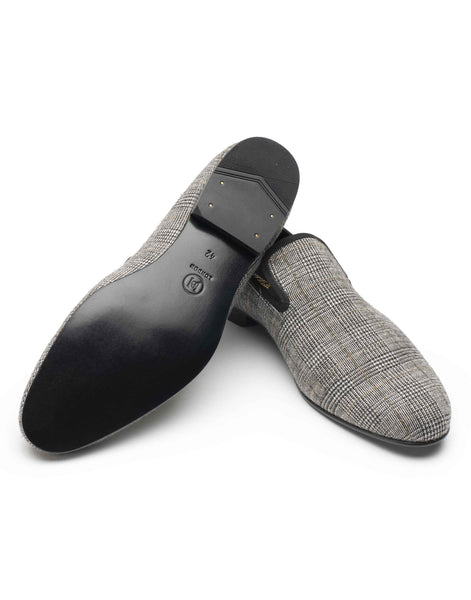 Plaid Grey Slipper Loafer-HBDAR011