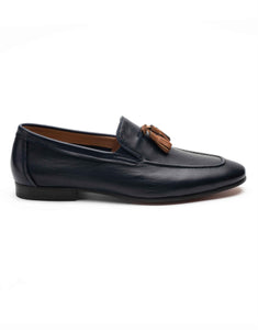 Navy Loafer with Contrast Tan Tassel-1619-01-993