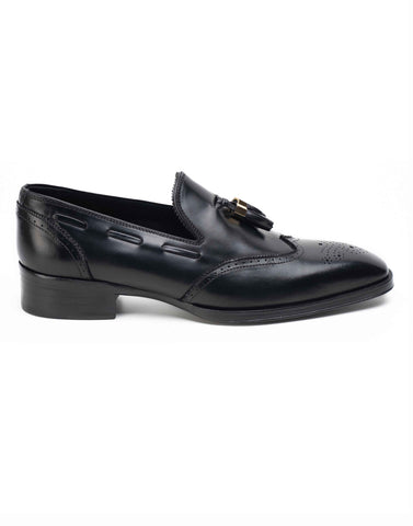 Charcoal Tassel Loafers-HBSDAR003