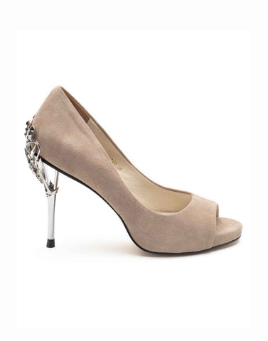 Beige Open Toe Pump-R39-01