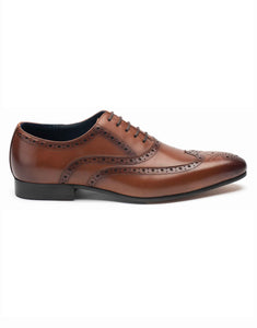 Tan Laceup Wingtip Oxford-RE3676-23