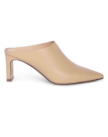 Ivory Pointed Toe Mules