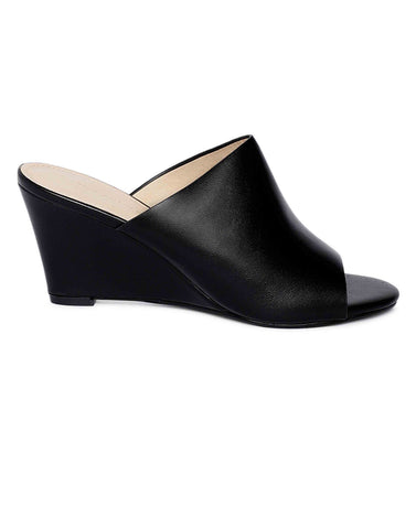 Black Peep-toe Wedges