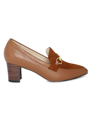 Caramel Block Heeled Pumps