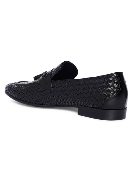 Charcoal Woven Tassel Loafer