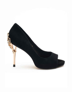 Ebony Open Toe Pump