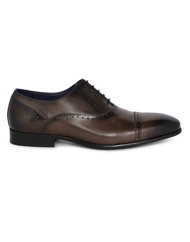Grey medallion wingtip oxfords