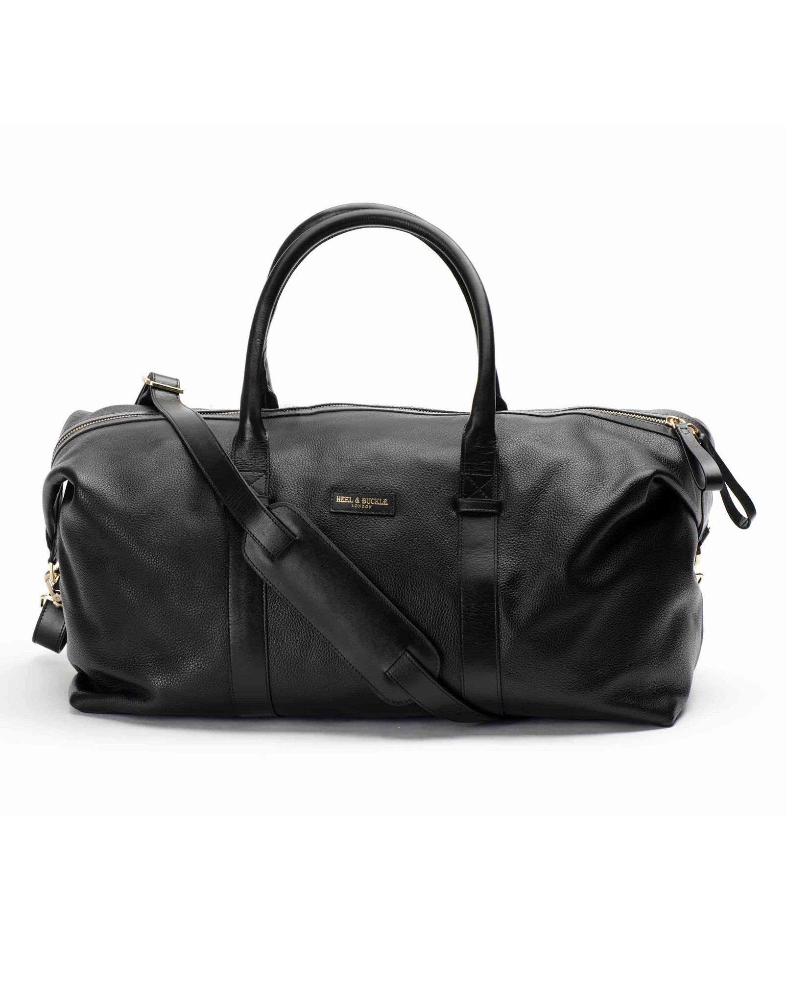 Black Textured Leather Duffle Bag