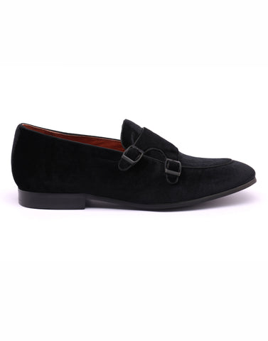 Black Velvet Double Monk Loafer