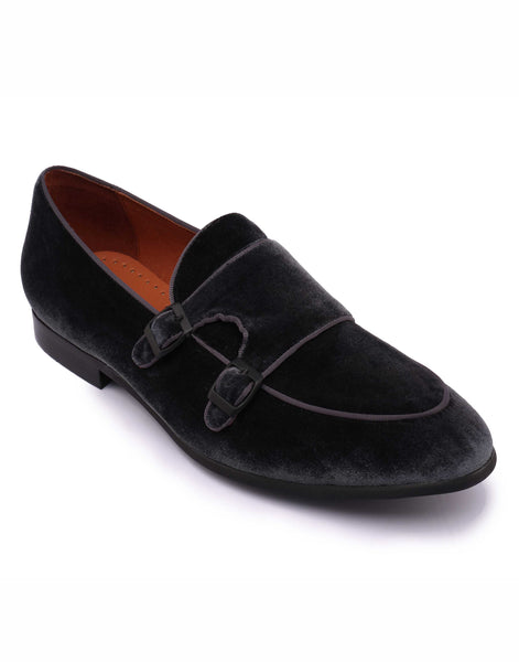 Navy Velvet Double Monk Loafer