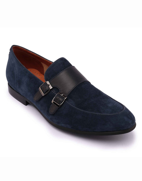 Blue Suede Double Monk Loafer