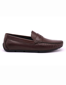 Brown Whip Stitched Penny Loafer