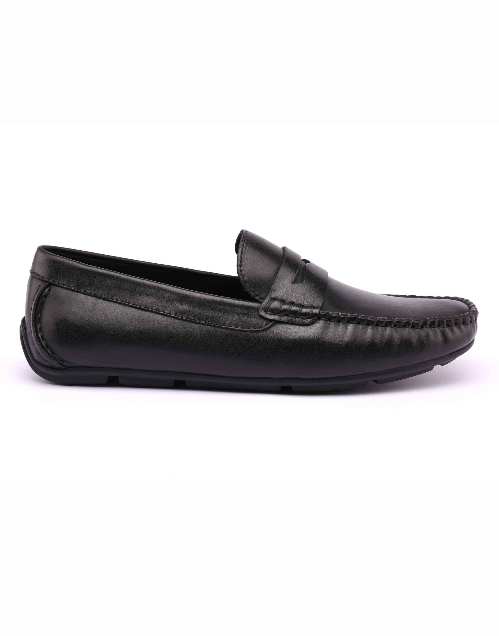 Black Whip Stitched Penny Loafer
