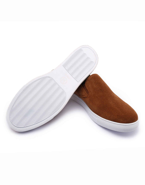 Tan Suede Slip-on With Woven Back