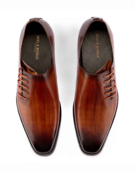 Tan Side Lace-up One Cut Oxford