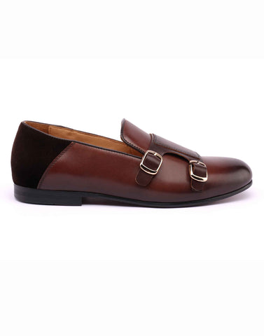 Brown Soft Leather Double Monk