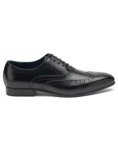 Black Lace-up Wingtip Oxford
